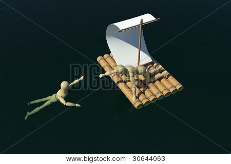 The wooden man on a raft pulled out to a drowning man