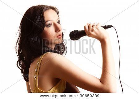 Karaoke Girl Singing,isolated on white background