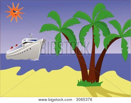 Desert Island With Ship