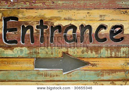 """entrance"" Wood Sign"
