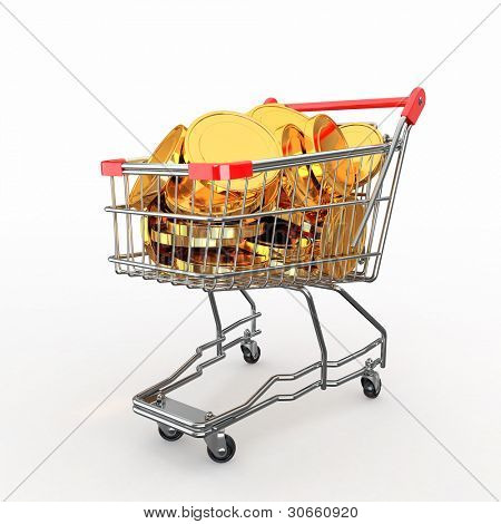 Shopping cart full of coins on white background. 3d