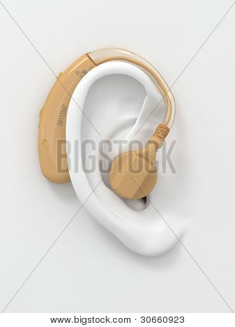 Hearing aid on white ear. Three-dimensional image. 3d