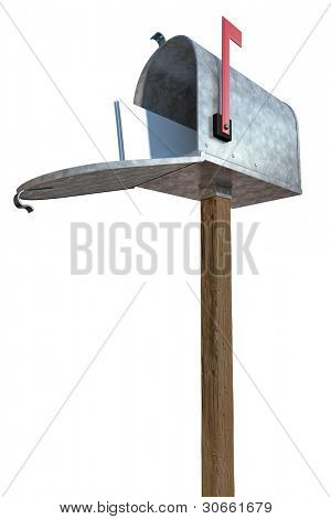 A standard galvanized mailbox on post, with mail and flag up over white.