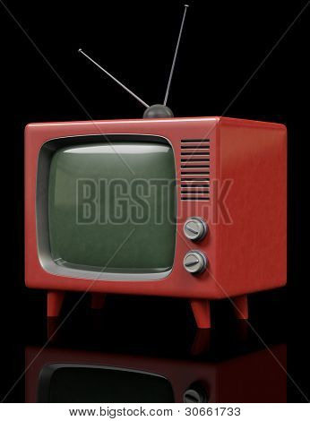 A retro Retro Television on a black background