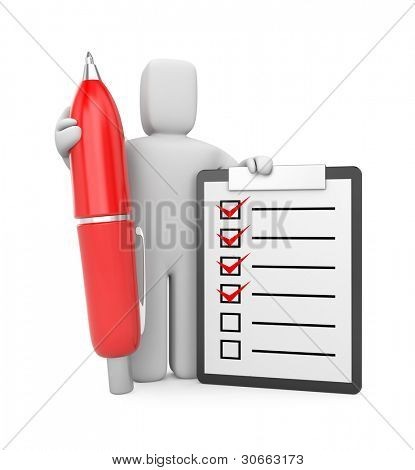 3d Person with clipboard and pen. Image contain clipping path