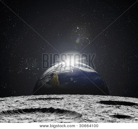 View Of The Universe From The Moon's Surface. Abstract Illustration Of Distant Regions.