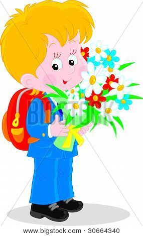 Schoolboy with flowers