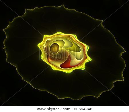 Abstract Color Image On A Black Background. Curves And Ornaments Futuristic Design.