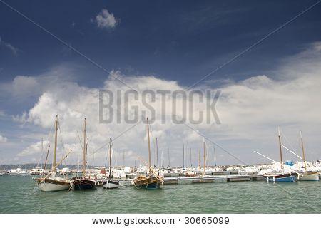 Marina with docked yachts at Sardegna, Italy