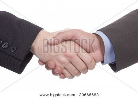 Handshake of two successful businesspeople (isolated on white)