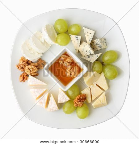 Dish Of Cheese With Grapes