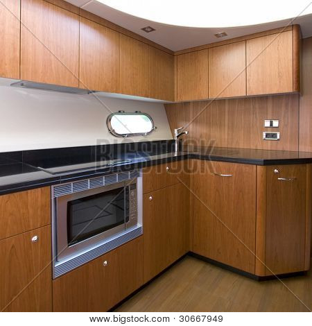 A luxury yacht interior kitchen - Luxury concept