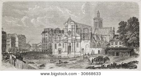 Saint-Laurent church facade before 1861 refurbishment, Paris. Created by Fichot and Dumont after Monnier de Luxeil, published on L'illustration, Journal Universel, Paris, 1863.