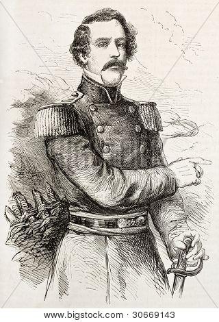 General Robert Edward Lee old engraved portrait. Created by Janet-Lange, published on L'illustration, Journal Universel, Paris, 1863