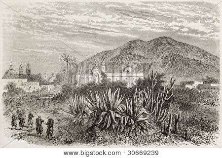 French intervention in Mexico: Tehuacan occupation by Colonel Jolivet troops. Created by Blanchard after Cibot, published on L'Illustration, Journal Universel, Paris, 1863