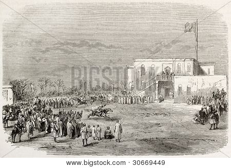 Carrousel in honour of Abd el-Kader at Tall-al-Kabir palace Egypt. Created by Godefroy-Durand, published on L'illustration, Journal Universel, Paris, 1863