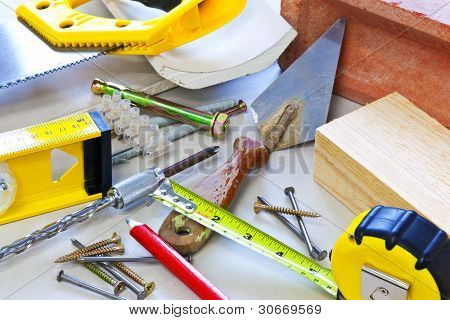 Still life photo of building tools and materials