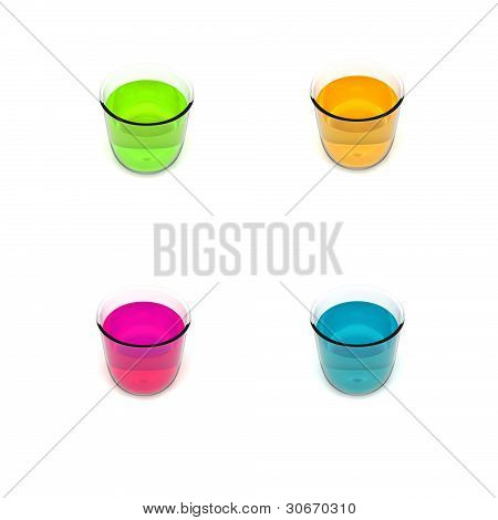 Green blue orange and violet glasses with drink.