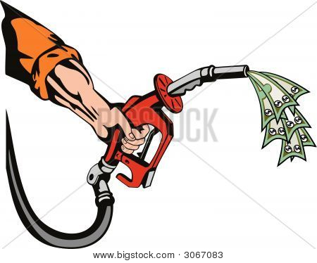 Hand With Gas Pump Sucking Money