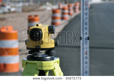 Land Surveyors level and rod