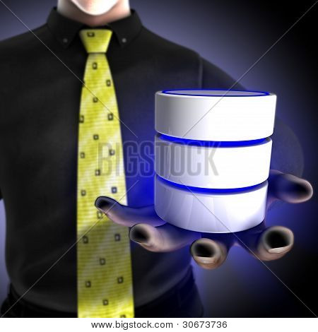Businessman providing a database