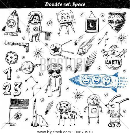 big vector set - doodle - space
