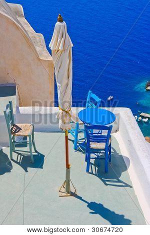 Magic Terrace In Santorini With Caldera View