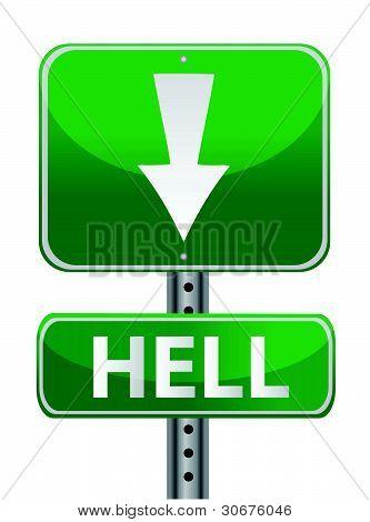 hell green street sign illustration design over white