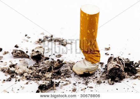 giving up smoking. close-up of the stripped cigarette