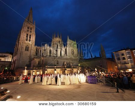 Burgos, Spain - April 21: Bearers (nazarenos) In The Semana Santa Procession By The Unesco Protected