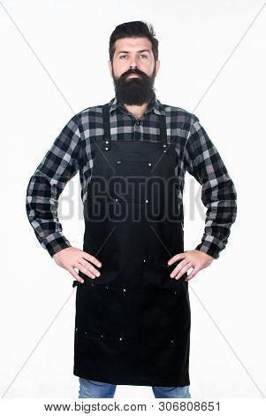 poster of Barbershop Staff. Beard Grooming Salon. Well Groomed Macho Barber. Uniform For Barber Salon. Barbers