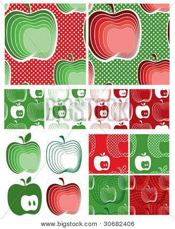 Modern Apple Seamless Vector Patterns. Use to create items for home cooking or craft projects. Matching items available from www.zazzle.com in the NuDesign Shop