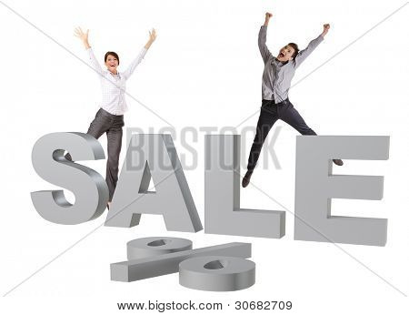Happy people jumping behind big silver SALE sign, isolated on white background
