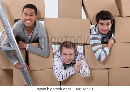 trio of male flatmates moving in