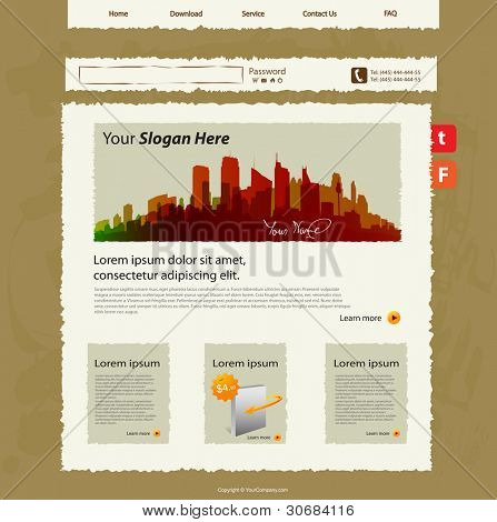 Vector web site template, hand sketch design