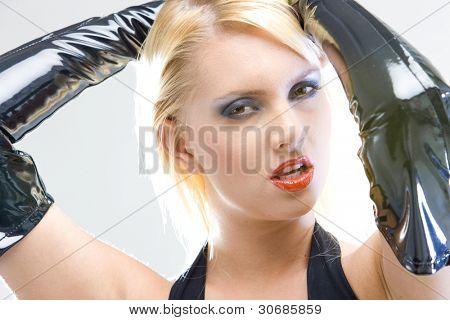 woman's portrait in latex