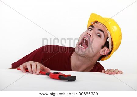 An hurt construction worker.
