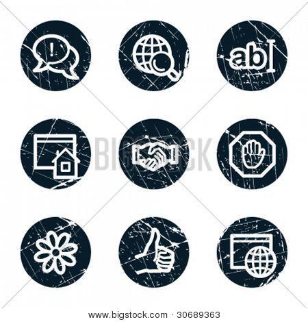 Internet web icons set 1, grunge circle buttons