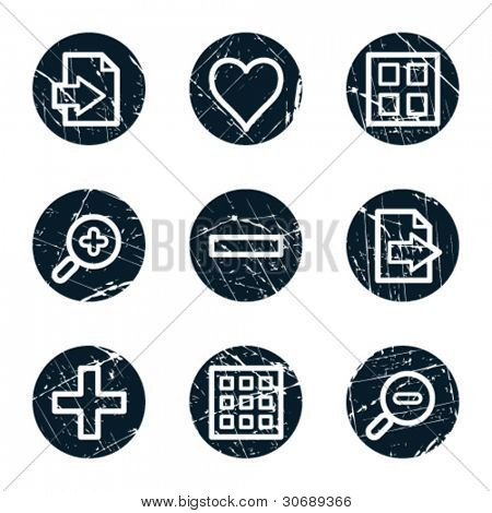 Image viewer web icons set 1, grunge circle buttons