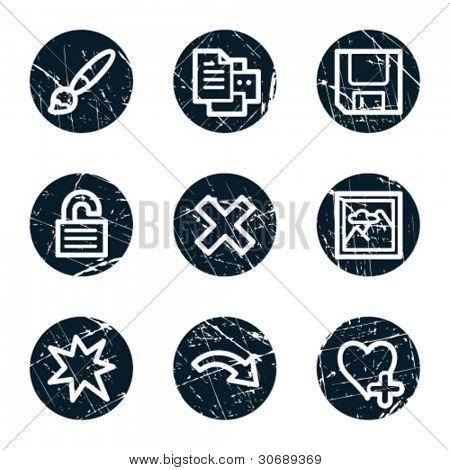 Image viewer web icons set 2, grunge circle buttons