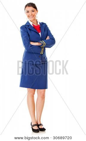 Fullbody flight attendant standing isolated over a white background