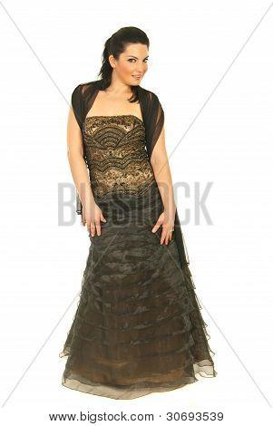 Fashionable Woman In Long Dress