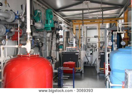 Interior Of Modern Gas Boiler-House