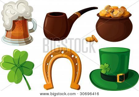 Set of St. Patrick's Day icons.