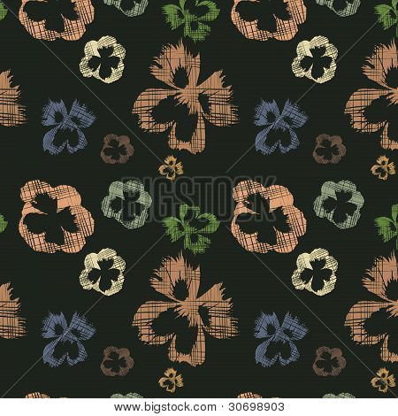 Seamless Dark Background With Abstract Seamless Flowers