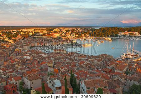 The Town Of Rovinj In Sunset Light (Croatia, Europe)