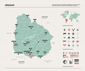 Vector Map Of Uruguay. Country Map With Division, Cities And Capital Montevideo. Political Map,  Wor poster