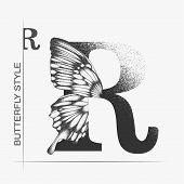 Letter R With Butterfly Silhouette. Monarch Wing Butterfly Logo Template Isolated On White Backgroun poster