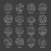 Natural Disaster Icons Collection In Linear Style Isolated On Black Background. Set Of Compositions  poster