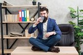 Mental Wellbeing And Relax. Man Bearded Manager Formal Suit Sit Lotus Pose Relaxing. Prevent Profess poster